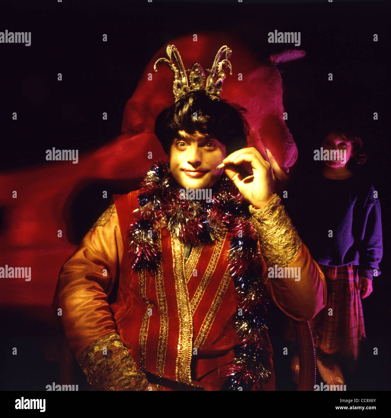 Actor and comedian Kevin Allen in pantomime costume. - Stock Image