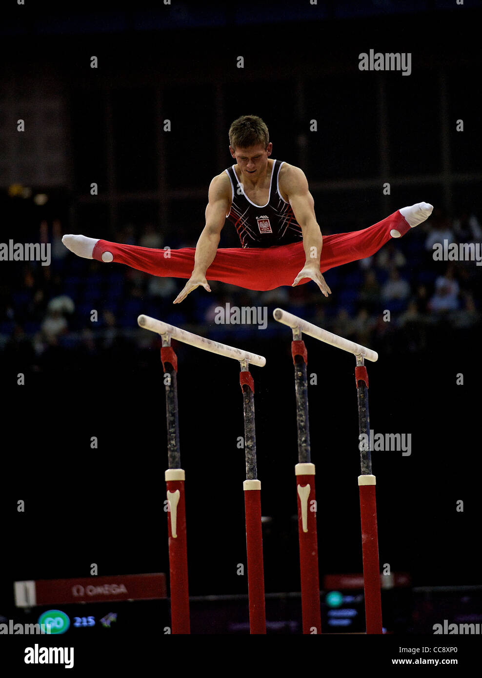 Masahiro YOSHIDA (JPN), competes in the parallel bars, The London Prepares Visa International Gymnastics - Stock Image