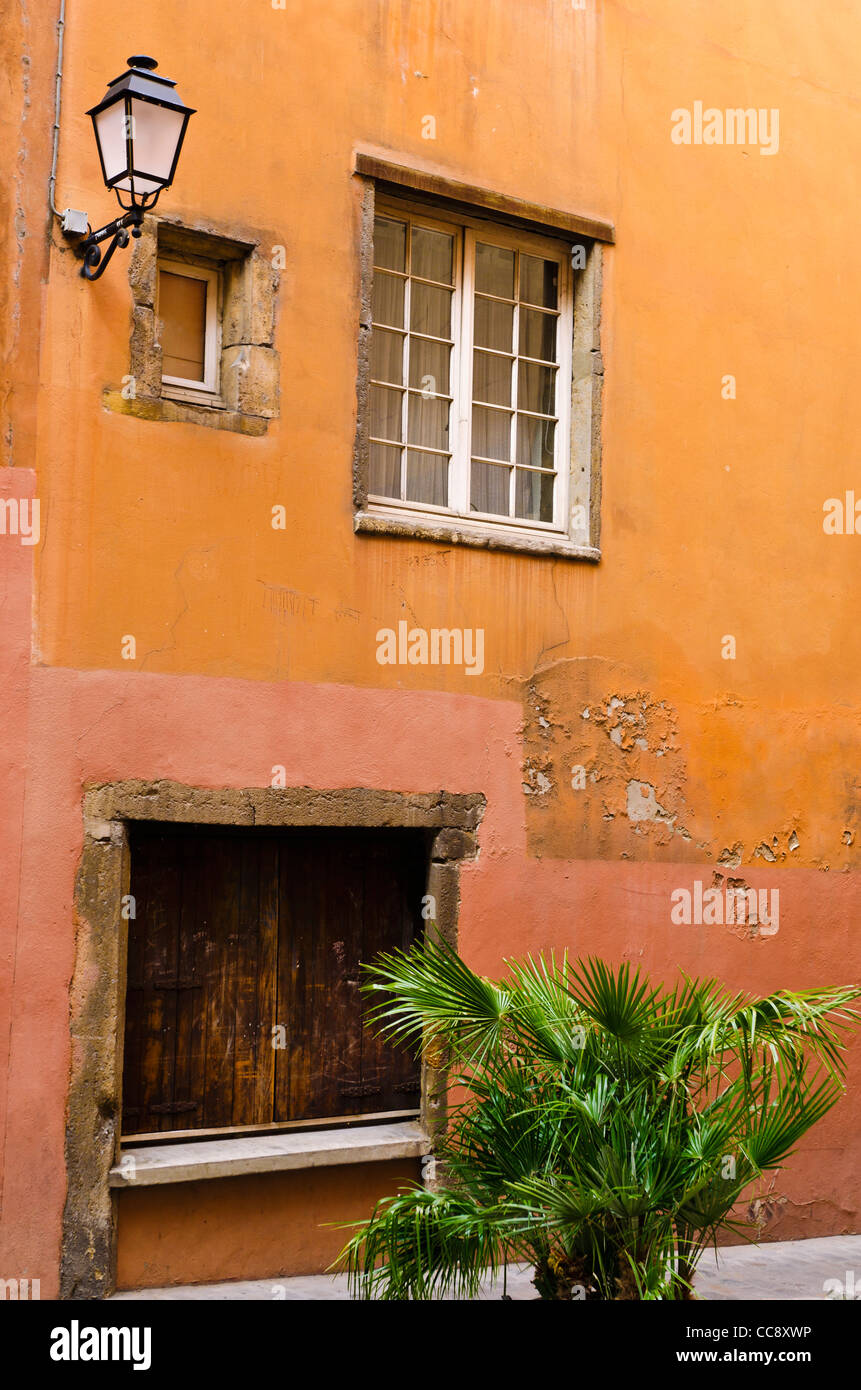 Side street in old town Vieux Lyon, France (UNESCO World Heritage Site) Stock Photo