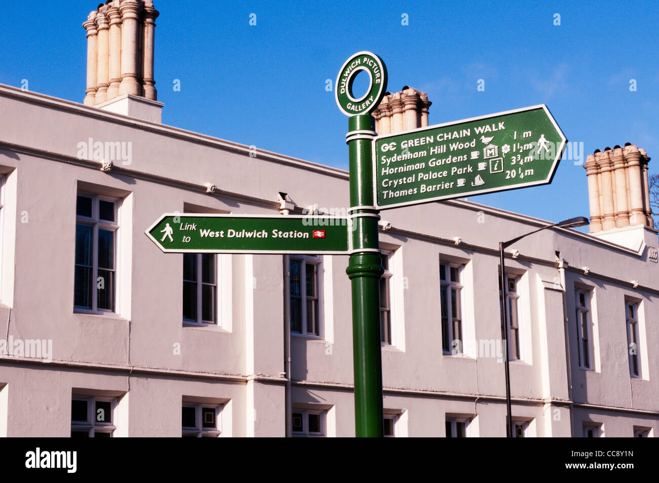 A sign for the Green Chain Walk in Dulwich Village, South London - Stock Image