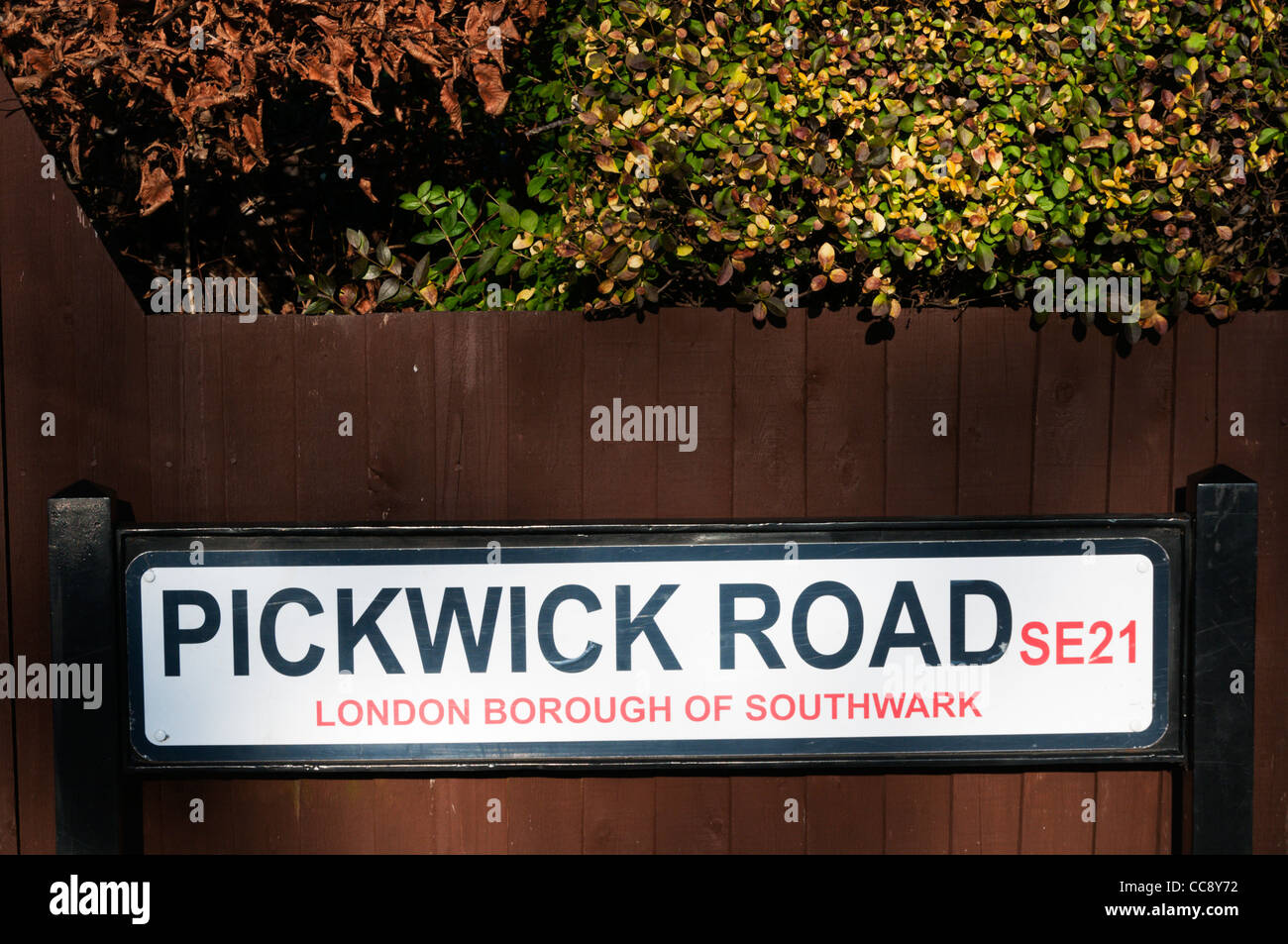 Street sign for Pickwick Road in Dulwich Village, London Borough of Southwark, SE21 - Stock Image