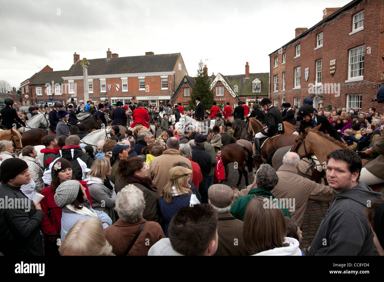 The annual  traditional hunt meet held in Market Bosworth square, Leicestershire on Boxing Day. Stock Photo