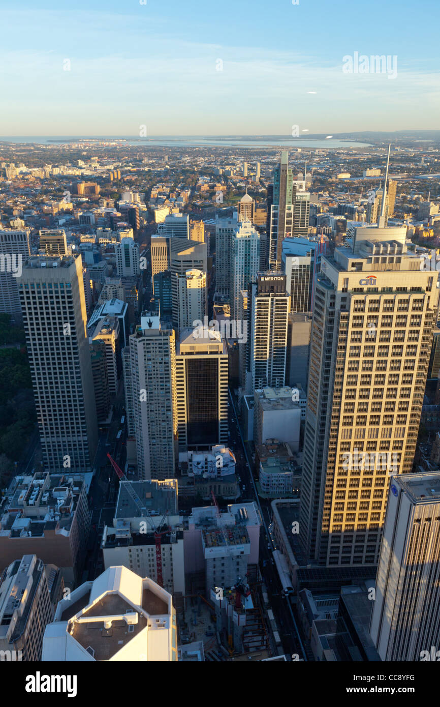 Sydney CBD downtown from Sydney Tower Eye - Stock Image