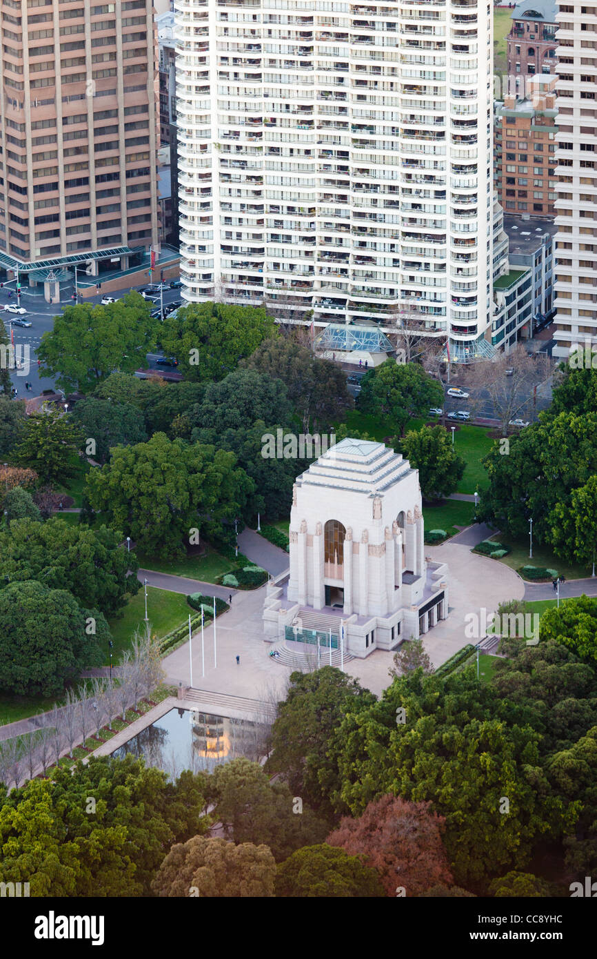 Anzac War Memorial from Sydney Tower Eye - Stock Image