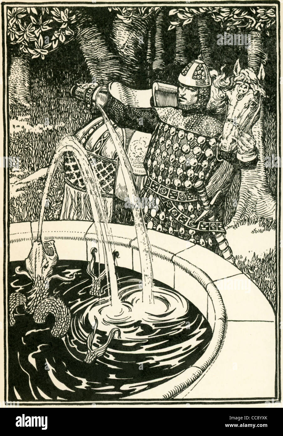 Sir Ivaine, a brave, kind-hearted, and merry Knight of the Round Table, pours water into a fountain, which brings - Stock Image