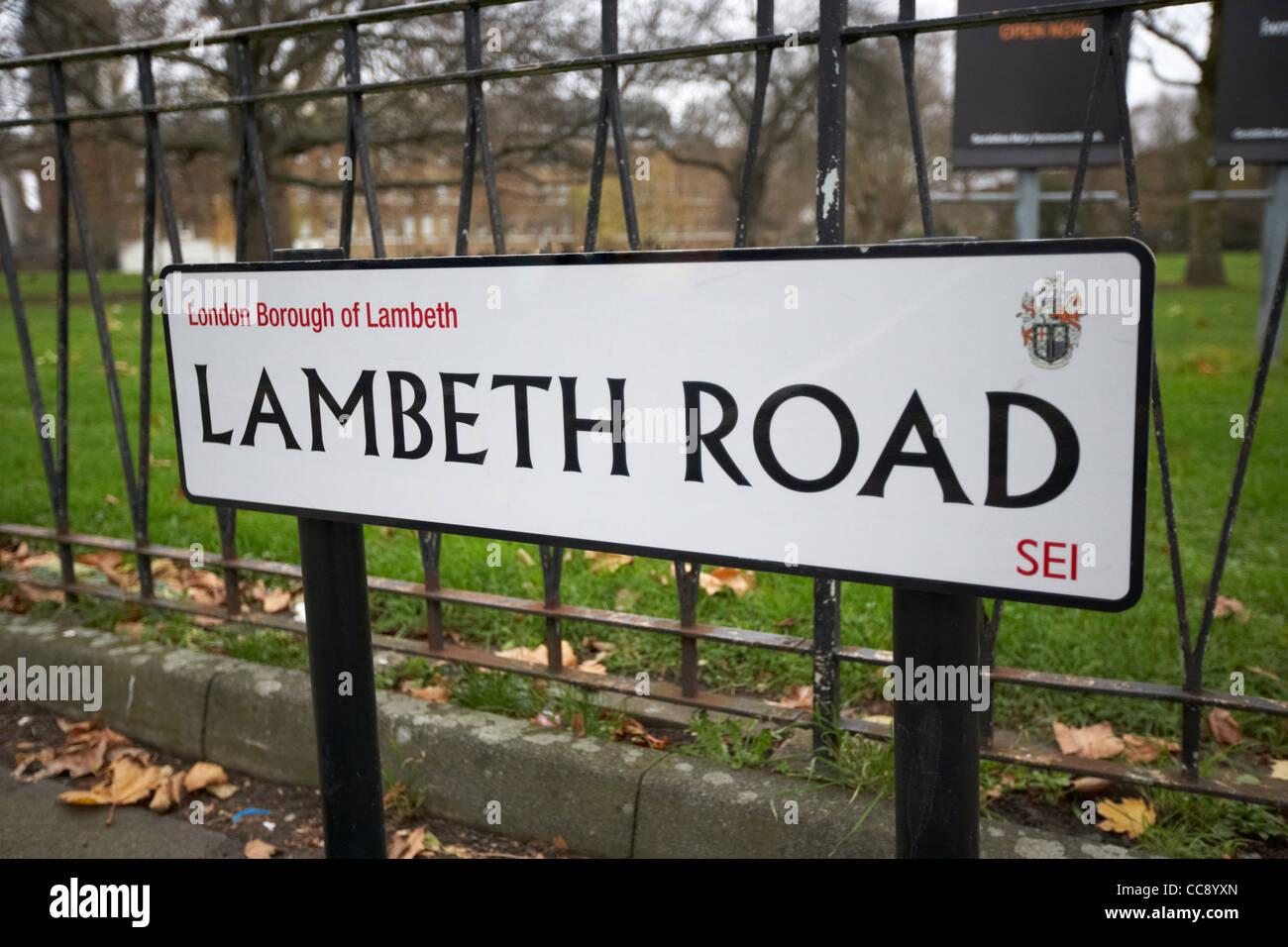 street sign for lambeth road London England UK United kingdom - Stock Image