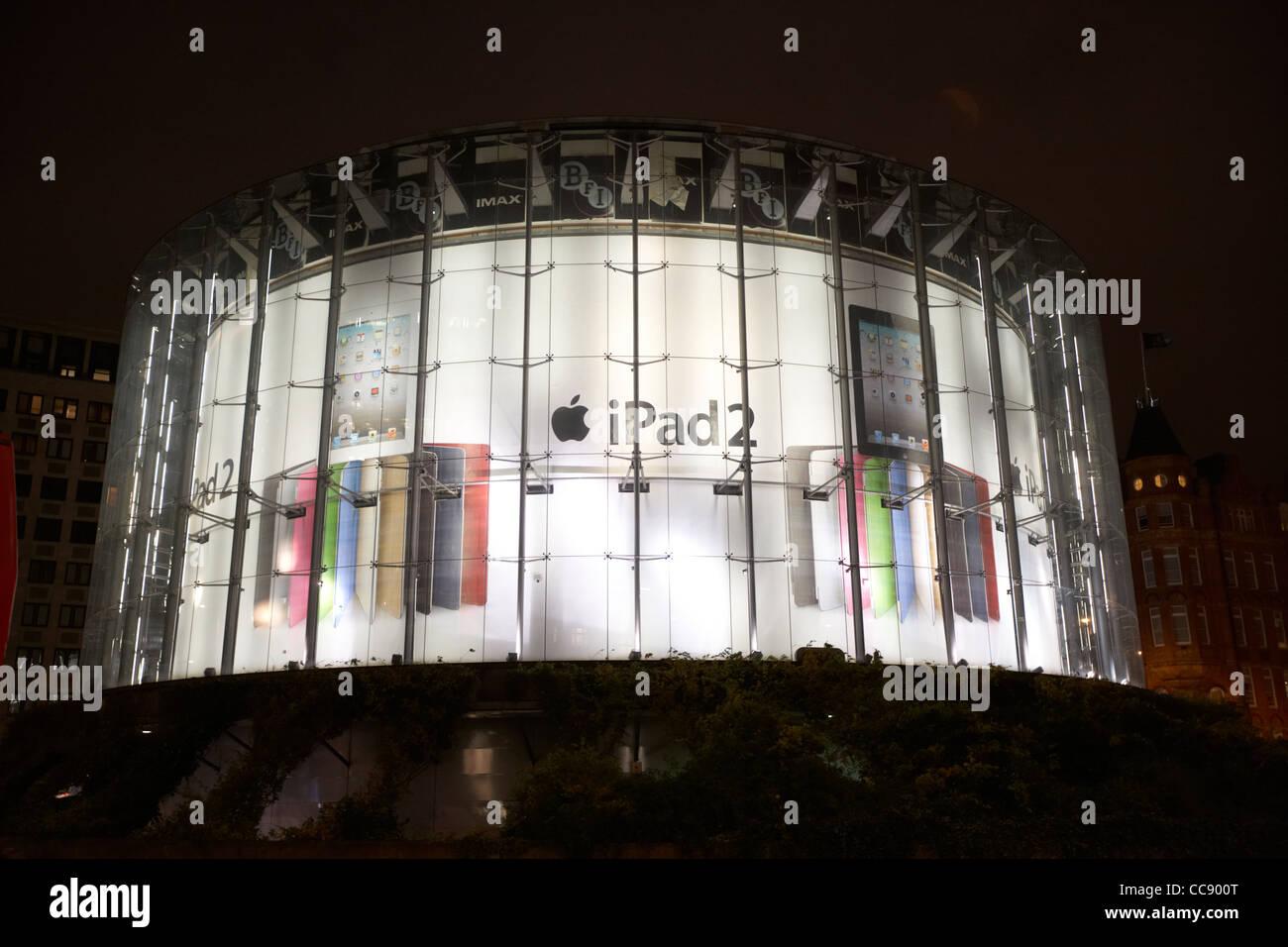 BFI Imax cinema on the south bank London with ipad 2 advert England UK United kingdom - Stock Image