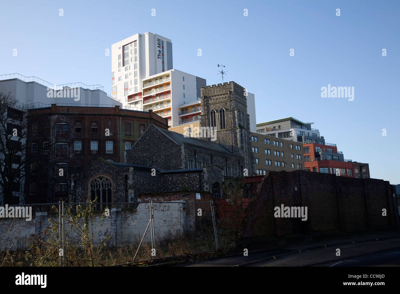 Zone in transition old and new buildings Ipswich Wet Dock area - Stock Image