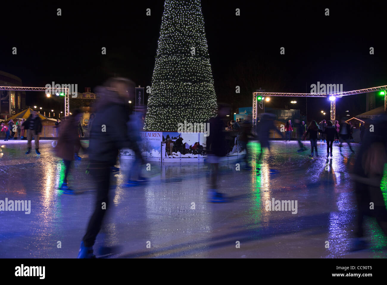 York outdoor Christmas Ice area The Ice Factor - Stock Image