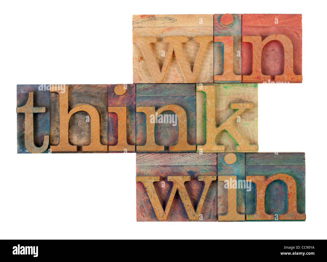 think win win words in vintage wooden letterpress printing blocks, stained by color inks, isolated on white - Stock Image