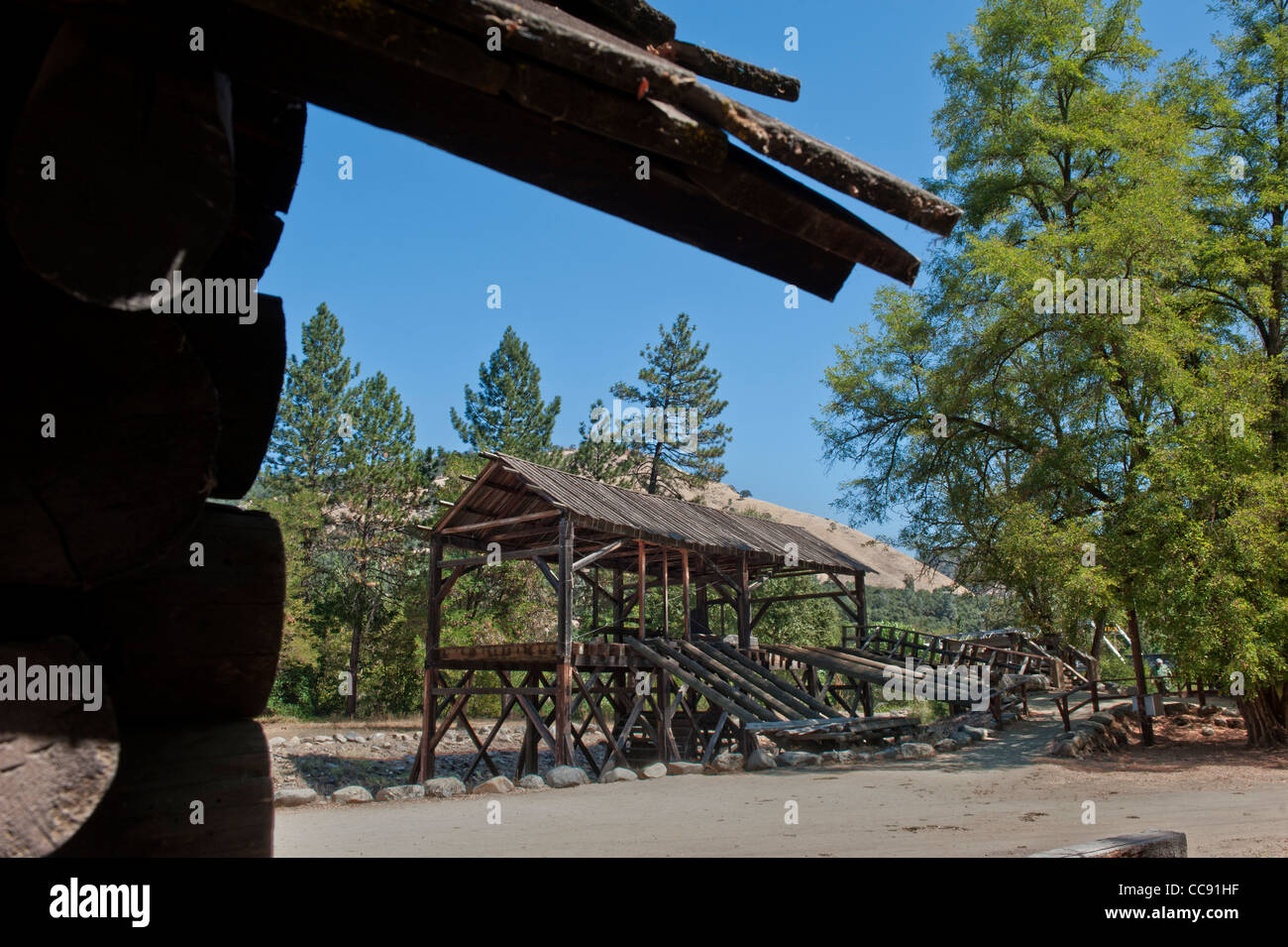 Replica of Sutters Mill, site of California's first Gold Discovery, in the Gold Country of Coloma California - Stock Image