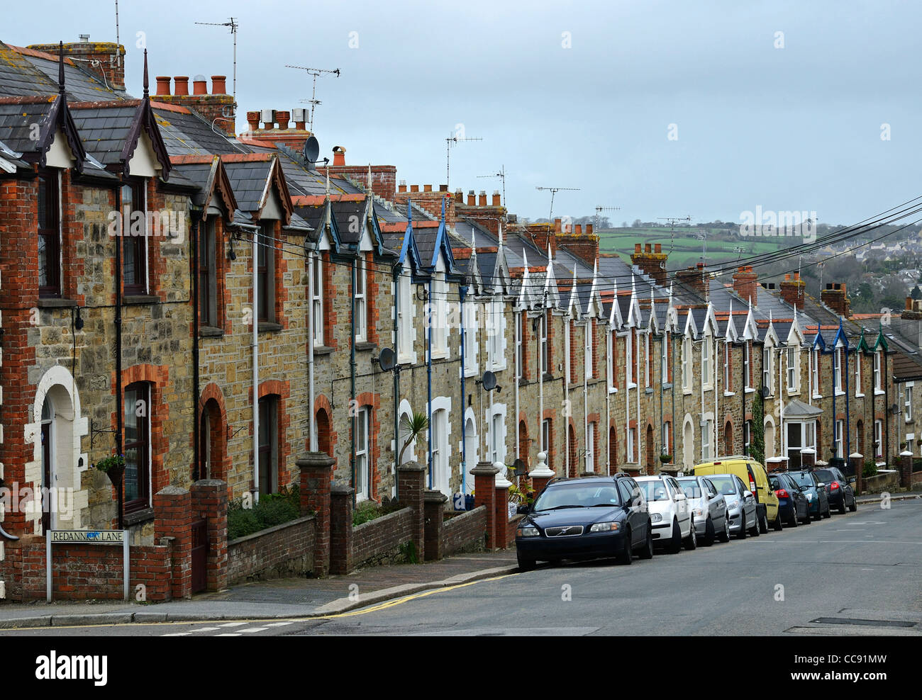 a row of terraced houses in Truro, Cornwall, UK - Stock Image