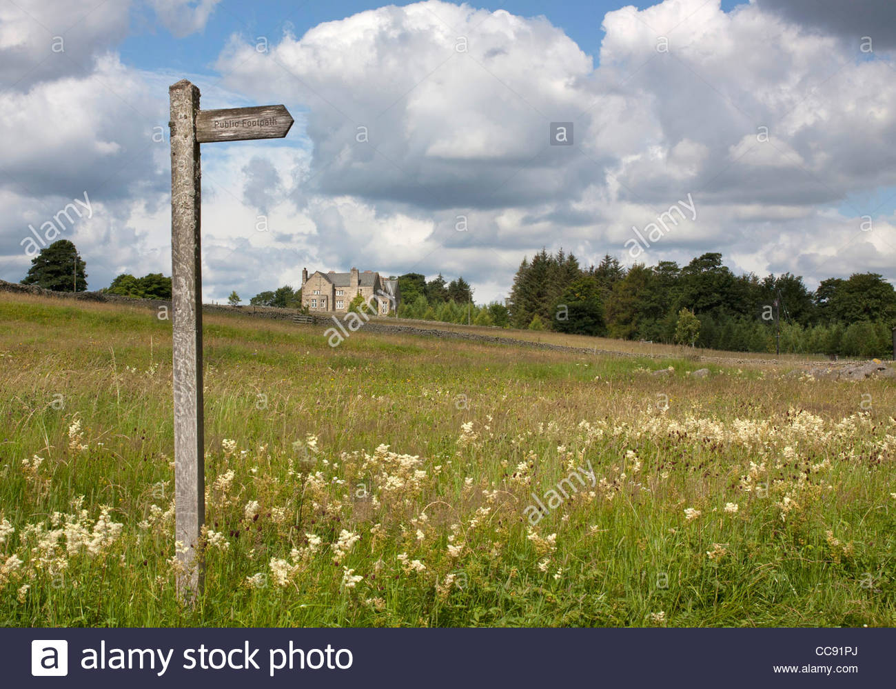 Signpost directing the path through the hayfields in Holwick, Middleton-in-Teesdale, Co Durham - Stock Image