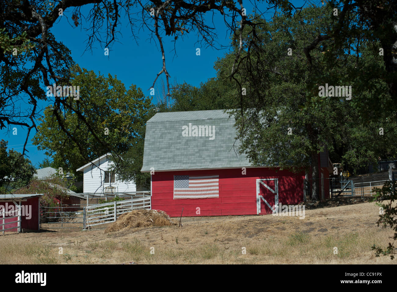 Farmhouse near Sutters Mill at Marshall Gold Discovery Site Coloma, California, USA - Stock Image