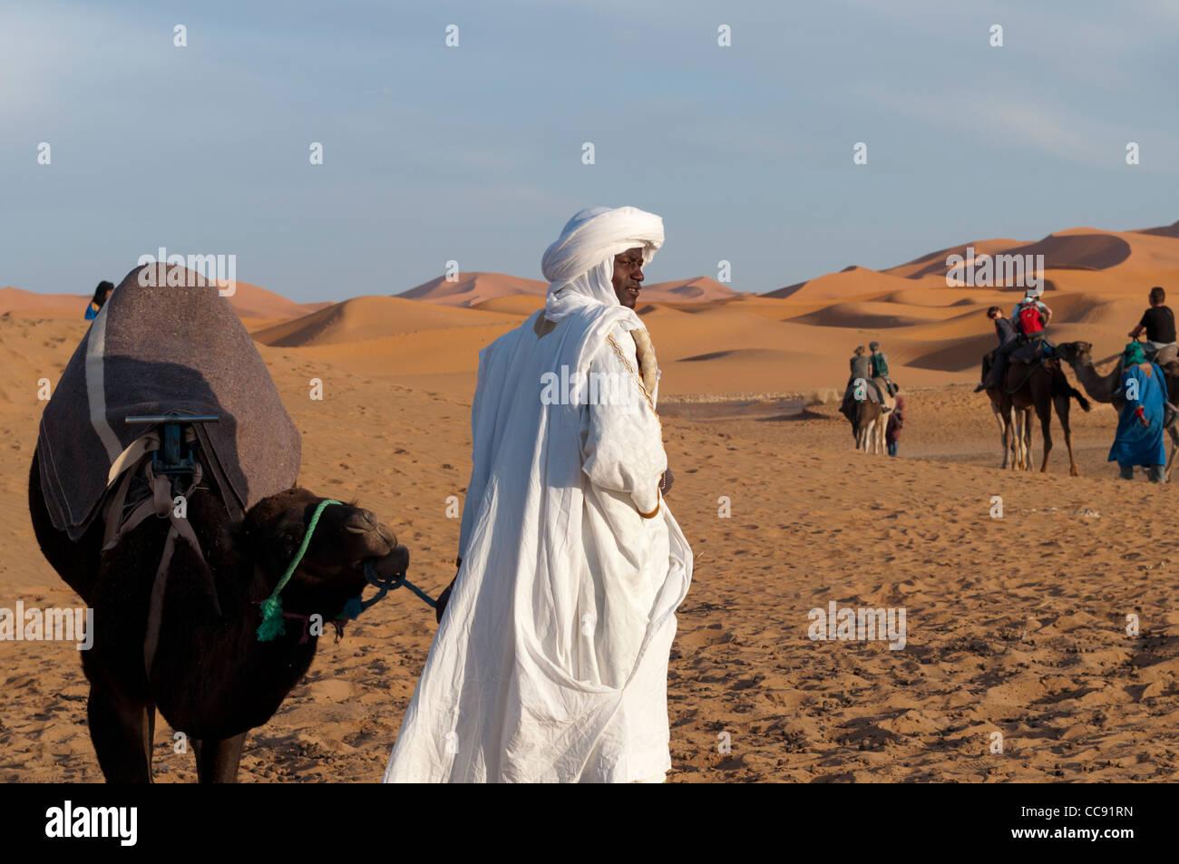 Desert Safari,Erg Chebbi near Merzouga - Stock Image