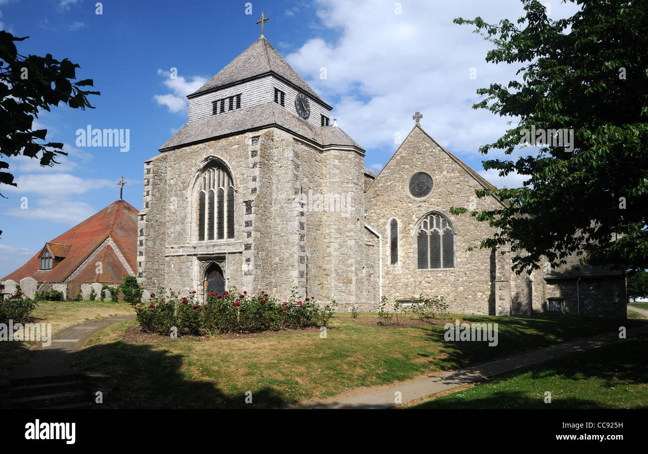 The Abbey Church of St. Mary the Virgin & St. Sexburgha, in Minster-on-Sea, Kent, England Stock Photo