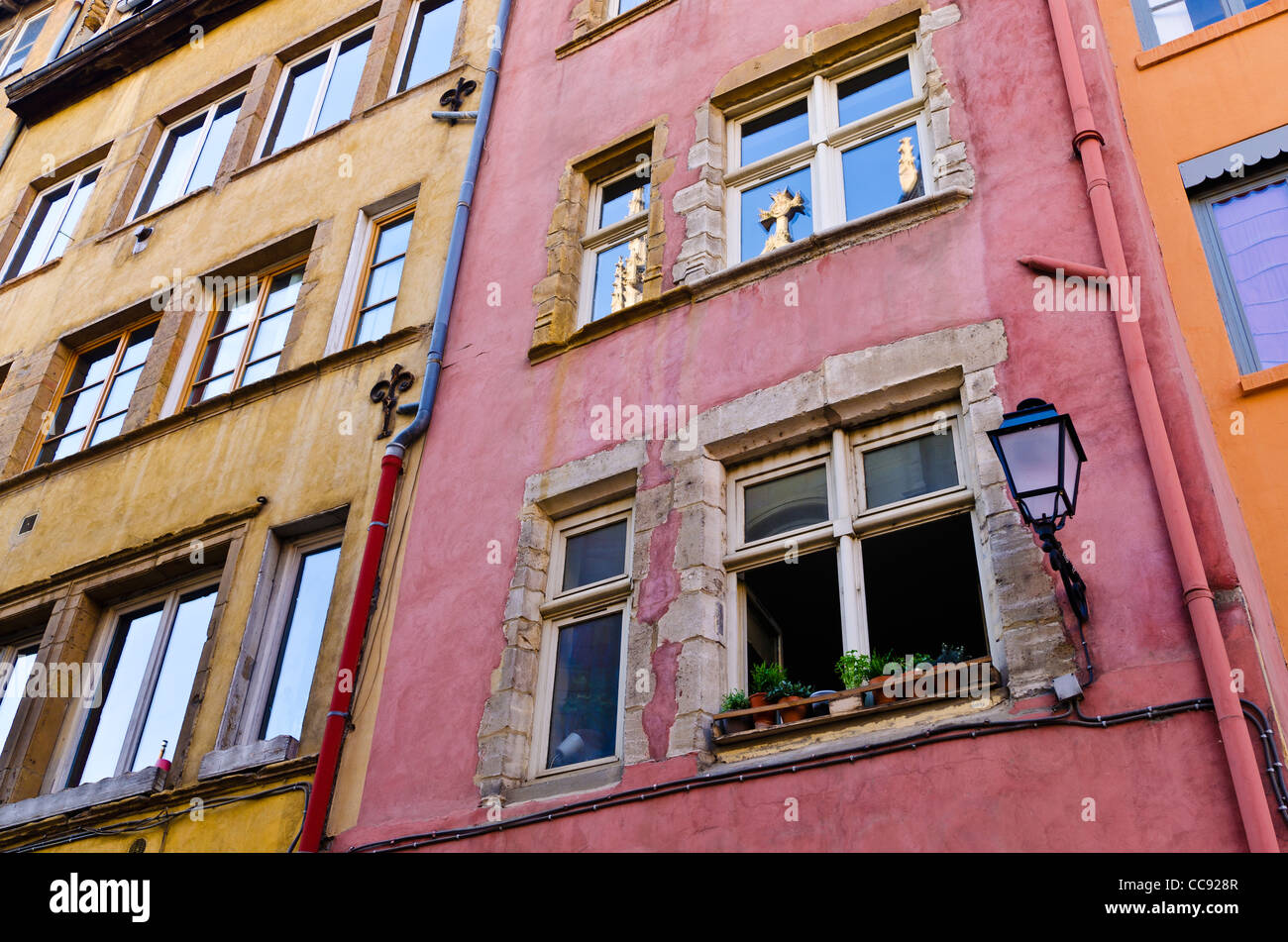 Colorful houses in old town Vieux Lyon, France (UNESCO World Heritage Site) Stock Photo