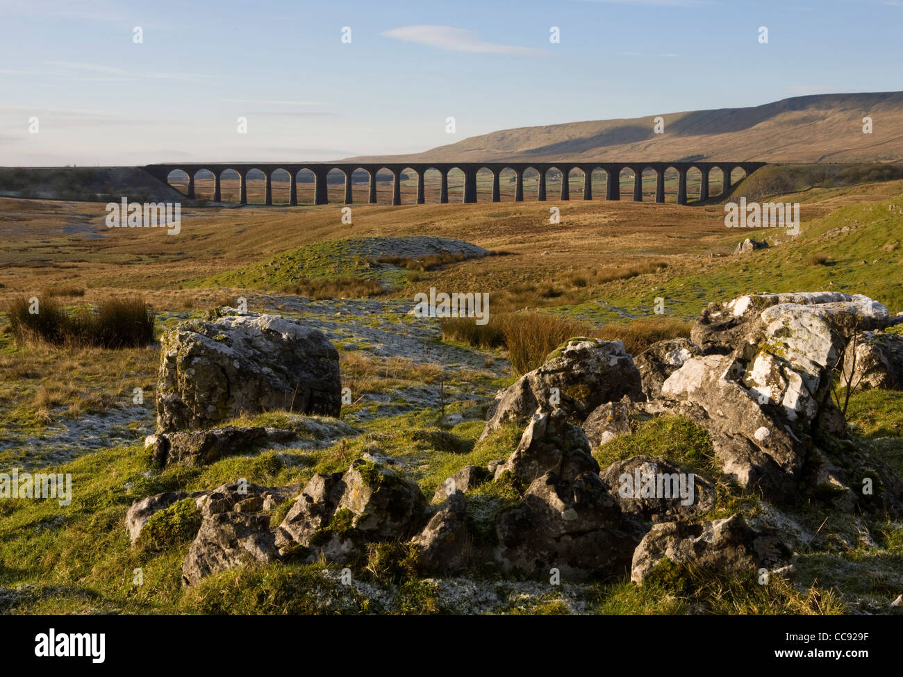 Limestone Pavement at the Ribblehead Viaduct across the River Ribble at Ribblehead, Chapel-le-dale in North Yorkshire, - Stock Image