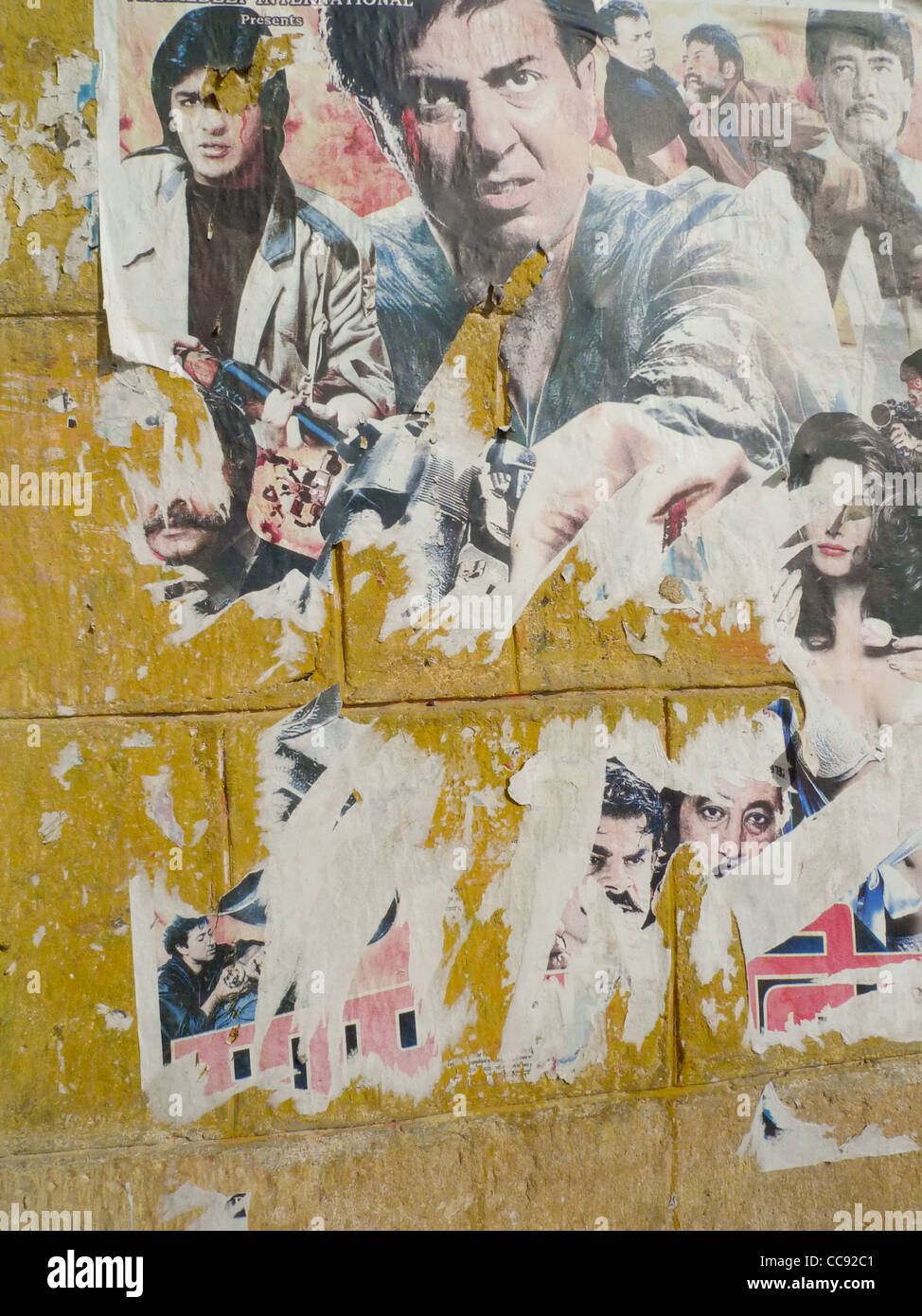 Indian Bollywood movie cinema poster on a wall in Jaisalmer, in ...
