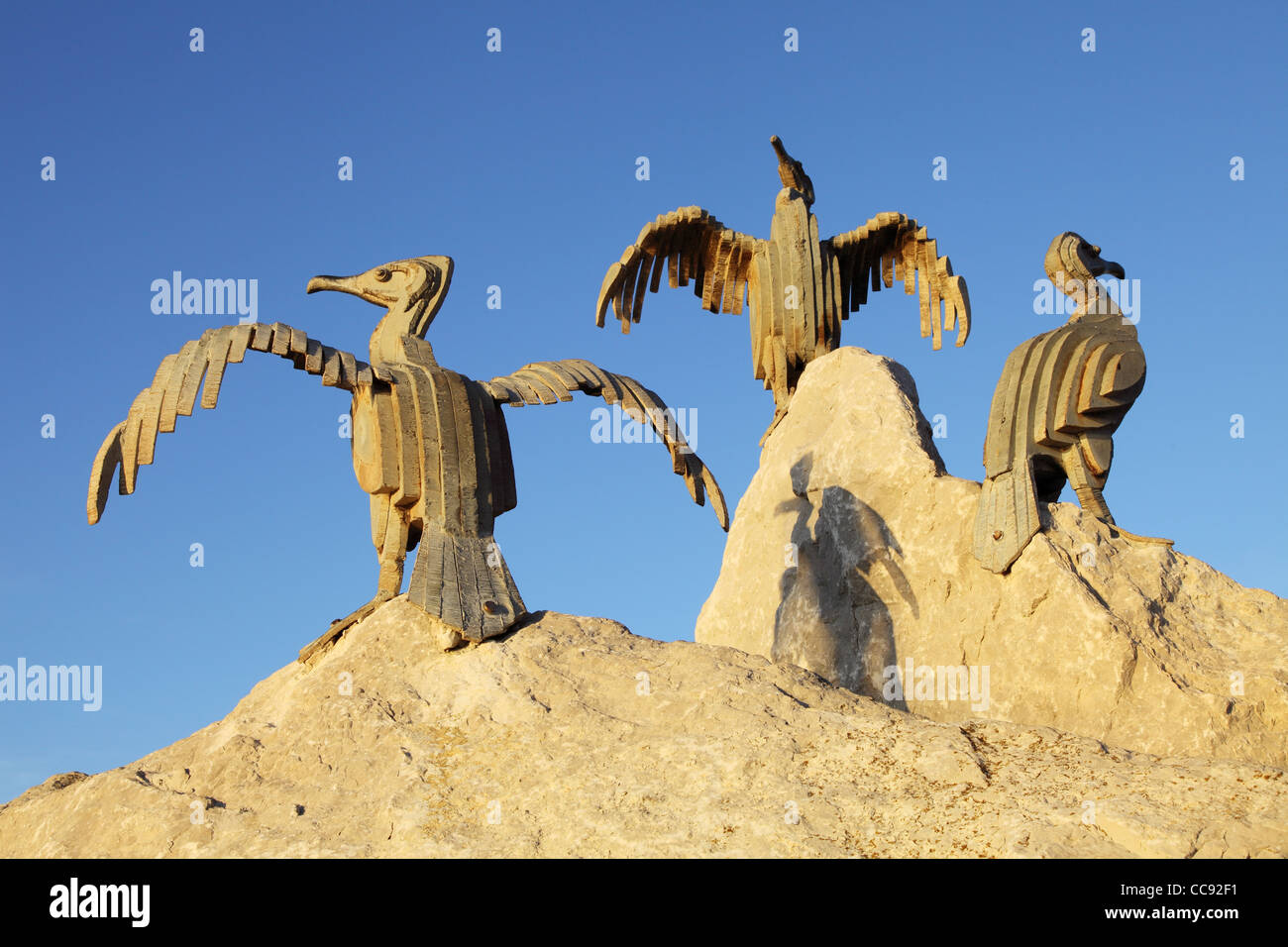 The Tern Project, metal cormorants sculpted by Brian Fell, Morecambe, north west England, UK - Stock Image