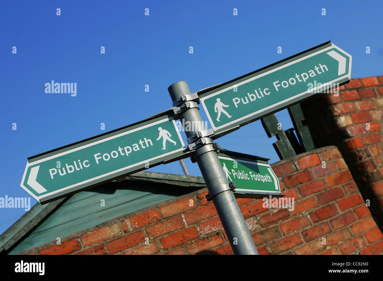 public footpath sign, direction, uk - Stock Image