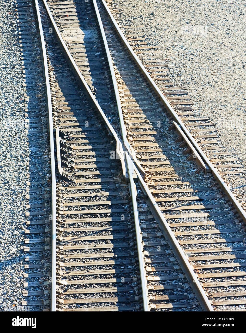 old railroad tracks - Stock Image
