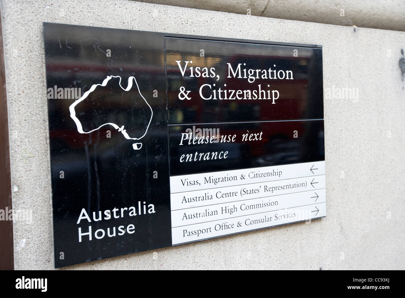 australia house home to the high commission of australia sign for visa migration and citizenship London England - Stock Image
