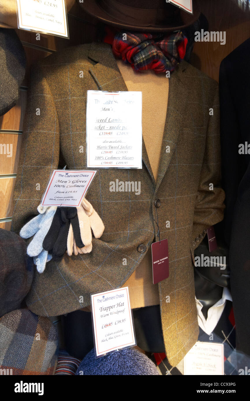 cashmere wool clothing for sale at a cashmere store London England UK United kingdom - Stock Image