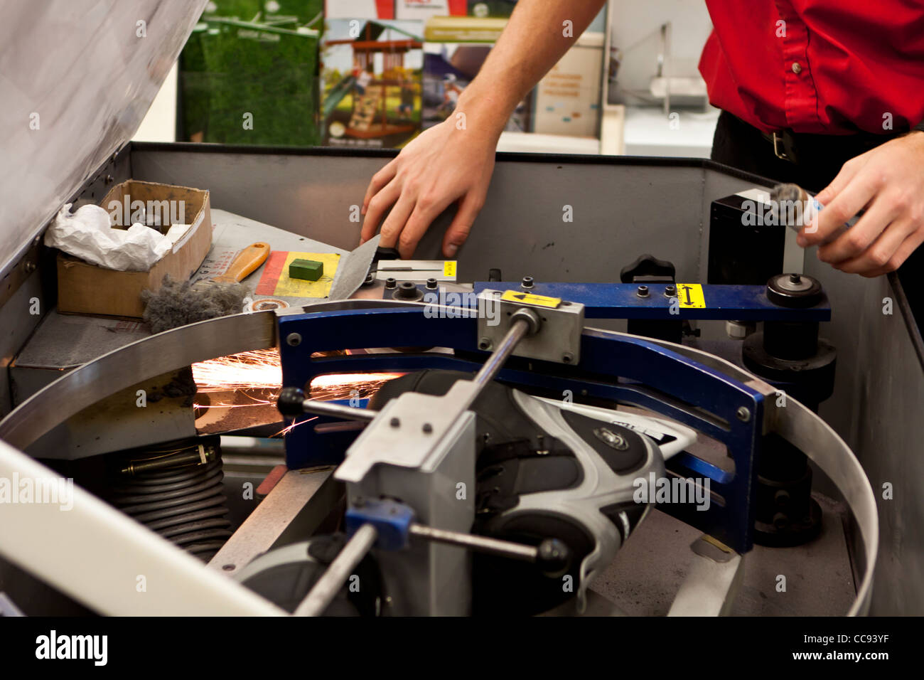 Ice skate sharpening machine - Stock Image