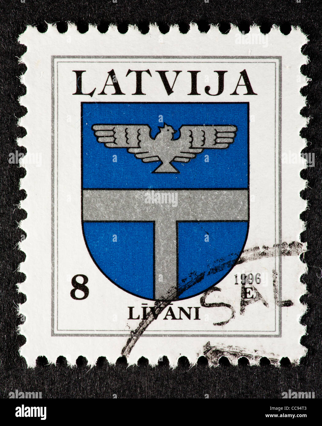 Postage stamp from Latvia depicting the coat of arms of Lavani. - Stock Image