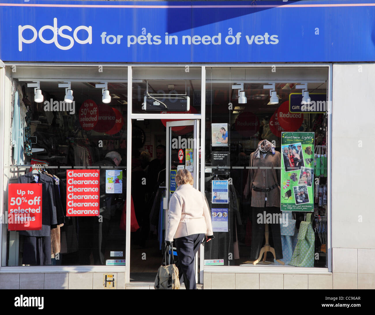 PDSA charity shop Whitley Bay north east England, UK - Stock Image