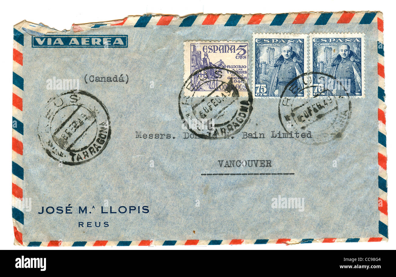 vintage airmail envelope with spanish stamps - Stock Image
