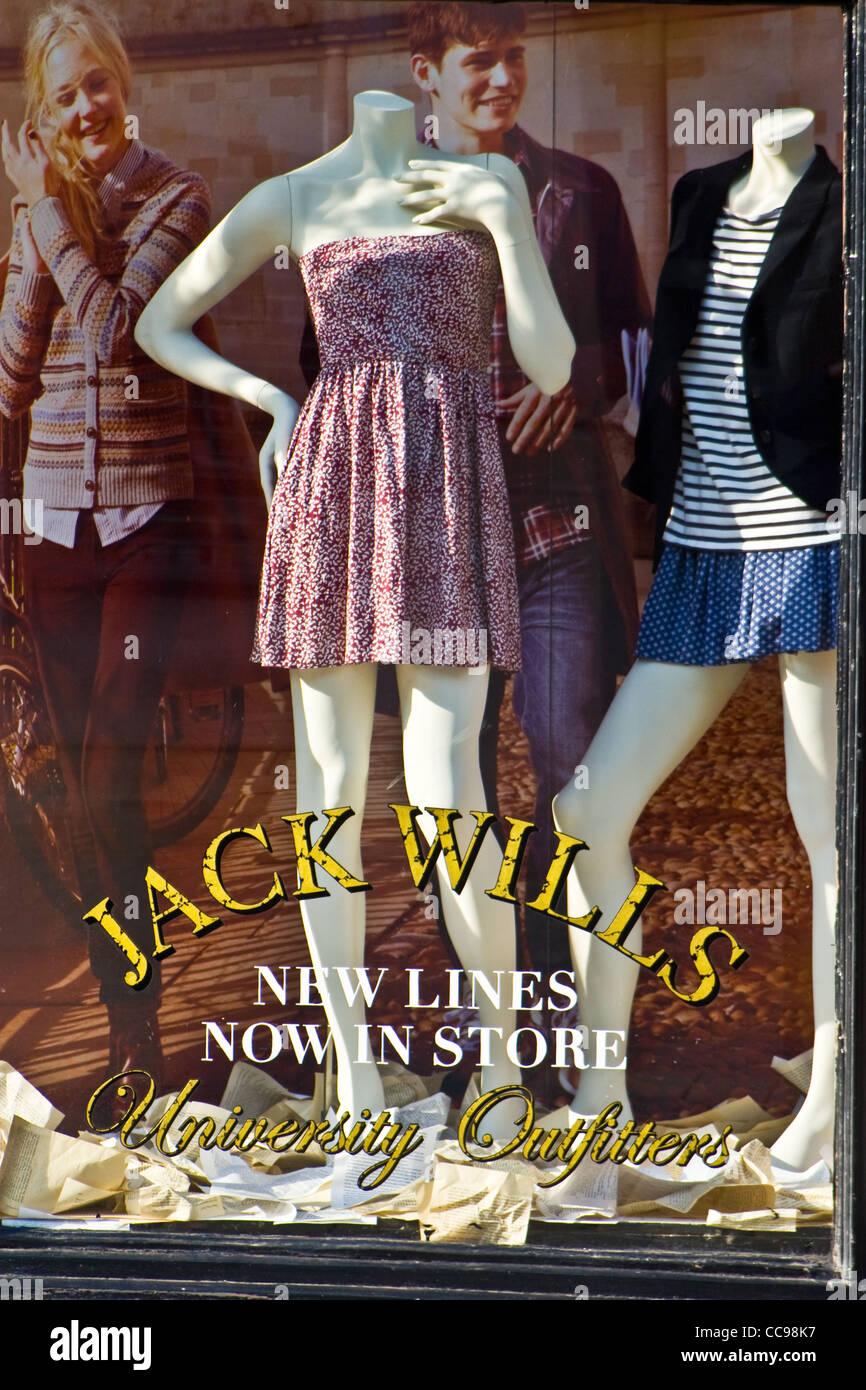 Window display, Jack Wills store, Market Place, St Albans, Hertfordshire, England, UK - Stock Image
