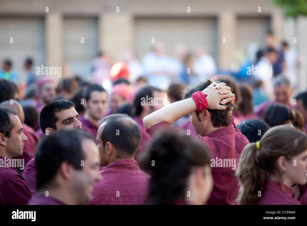 Castellers - catalonian tradition of building human towers -, Caldes de Montbui, Barcelona, Spain - Stock Image