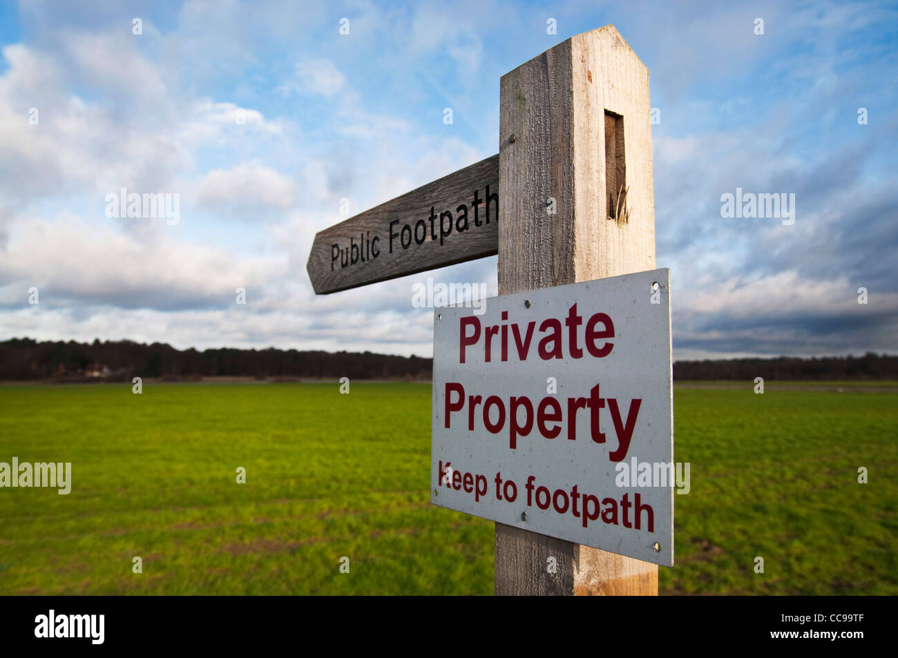 Public footpath finger post with private property sign affixed by landowner Stock Photo