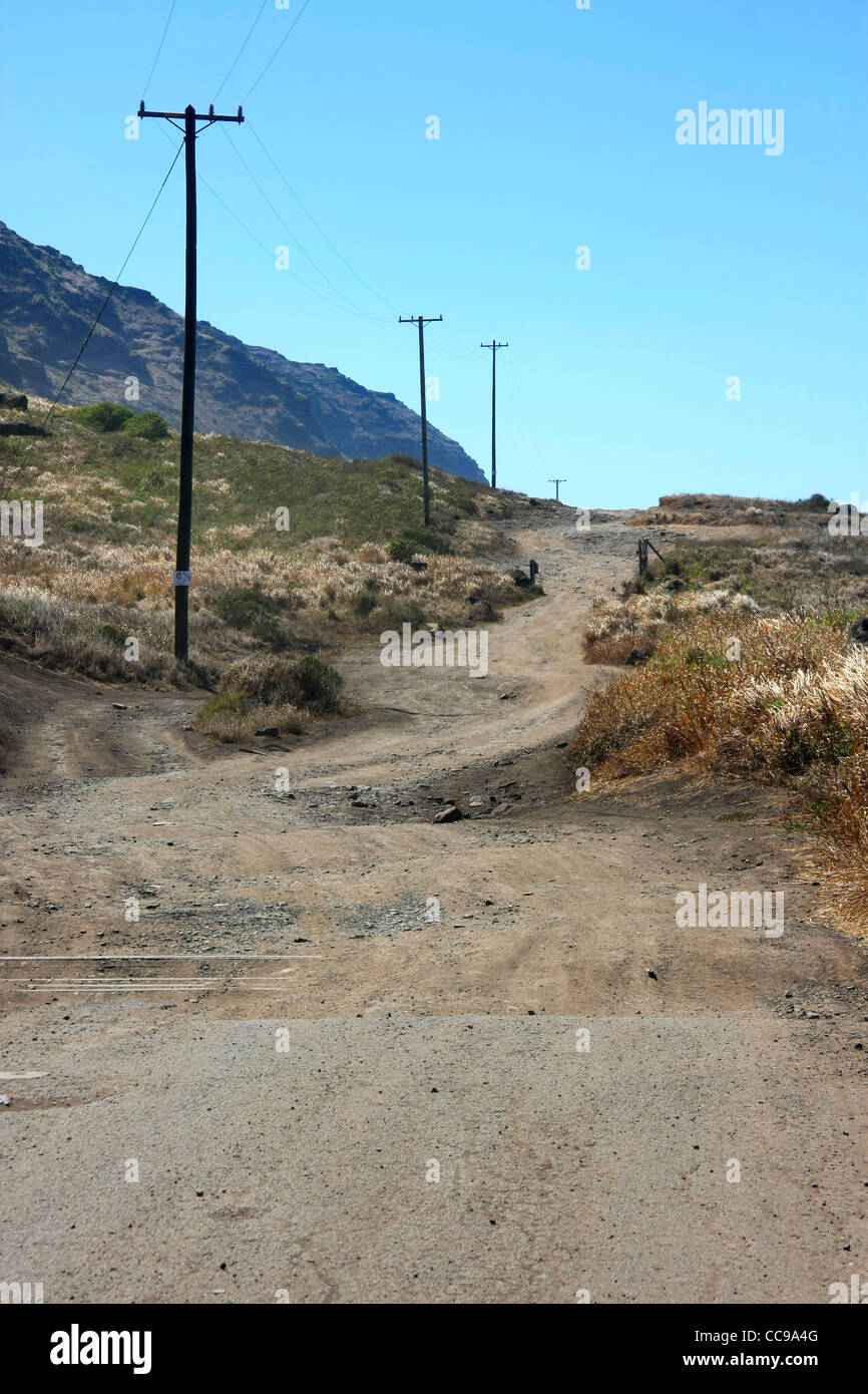 The beginning part of an unpaved highway - Stock Image