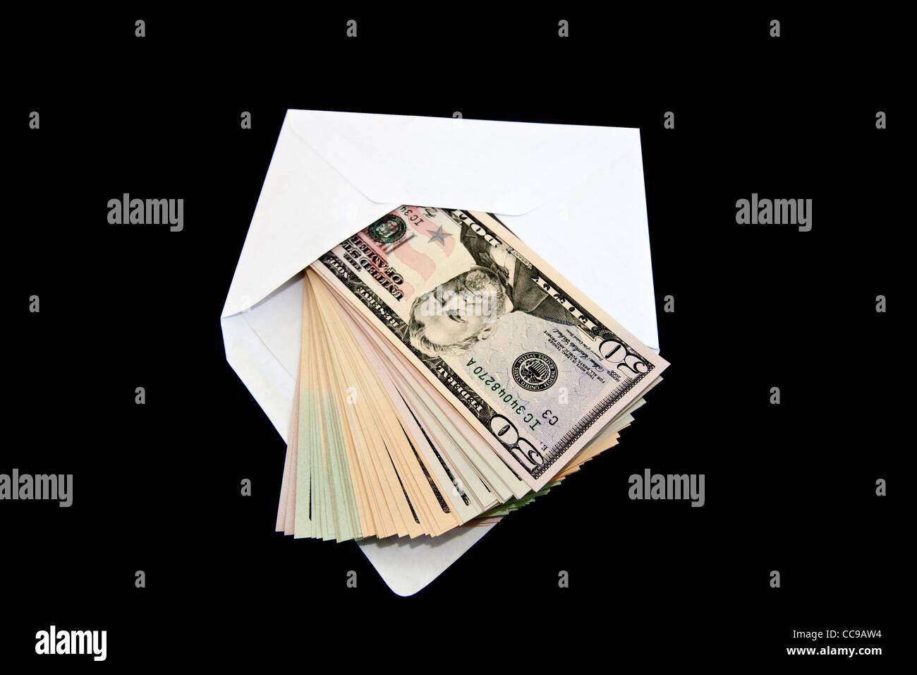 50 Dollars coming out of an envelope - Stock Image