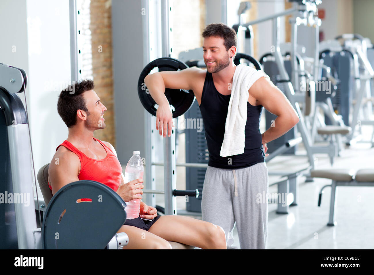 two men on a sport gym relaxed after fitness sport Stock Photo