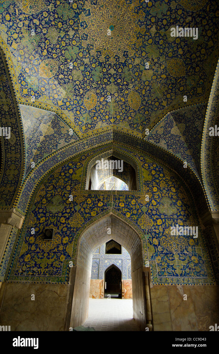 The mosaics throughout the stunningly beautiful Imam Mosque in Isfahan, iran, are exceptionally lovely. - Stock Image