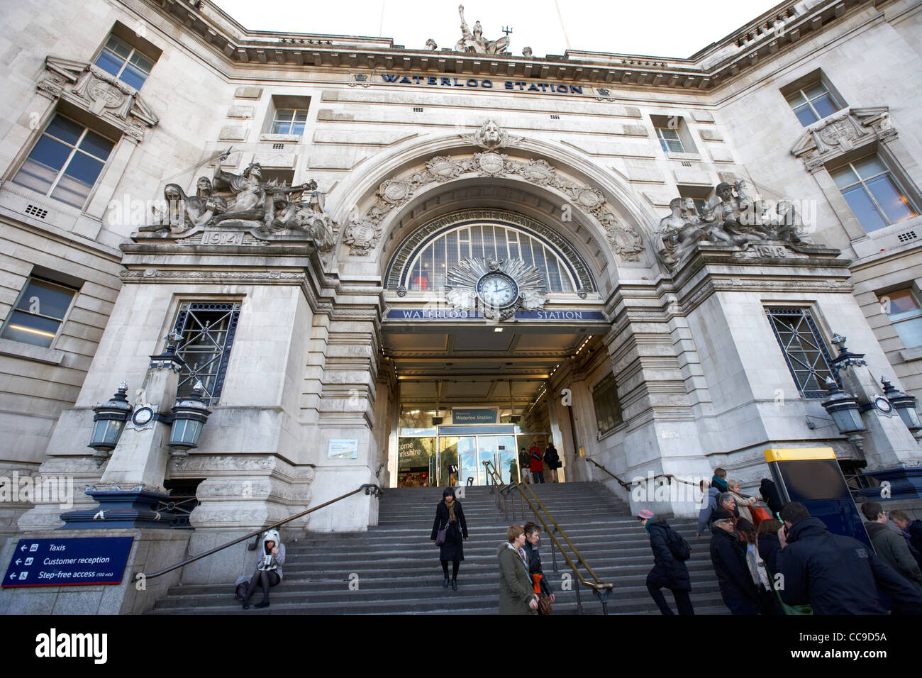 victory arch main entrance to London Waterloo train station England UK United kingdom - Stock Image
