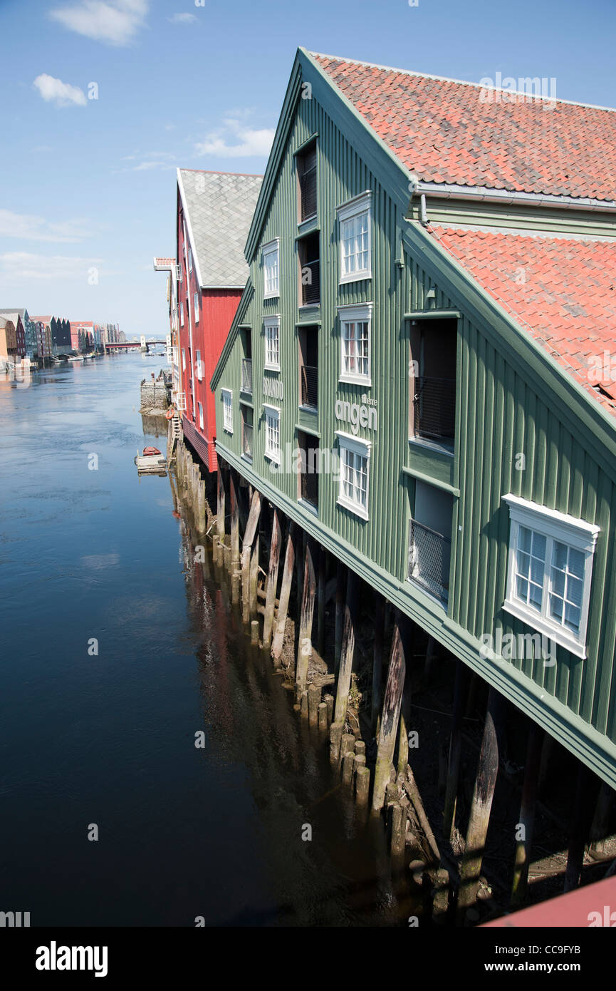 Trondheim, Riverside, Nidelva river, Nidarosdomen, Norway Stock Photo