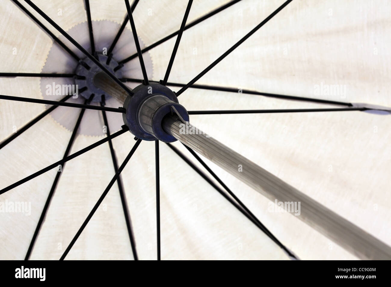Inside of parasol. Close-up. - Stock Image