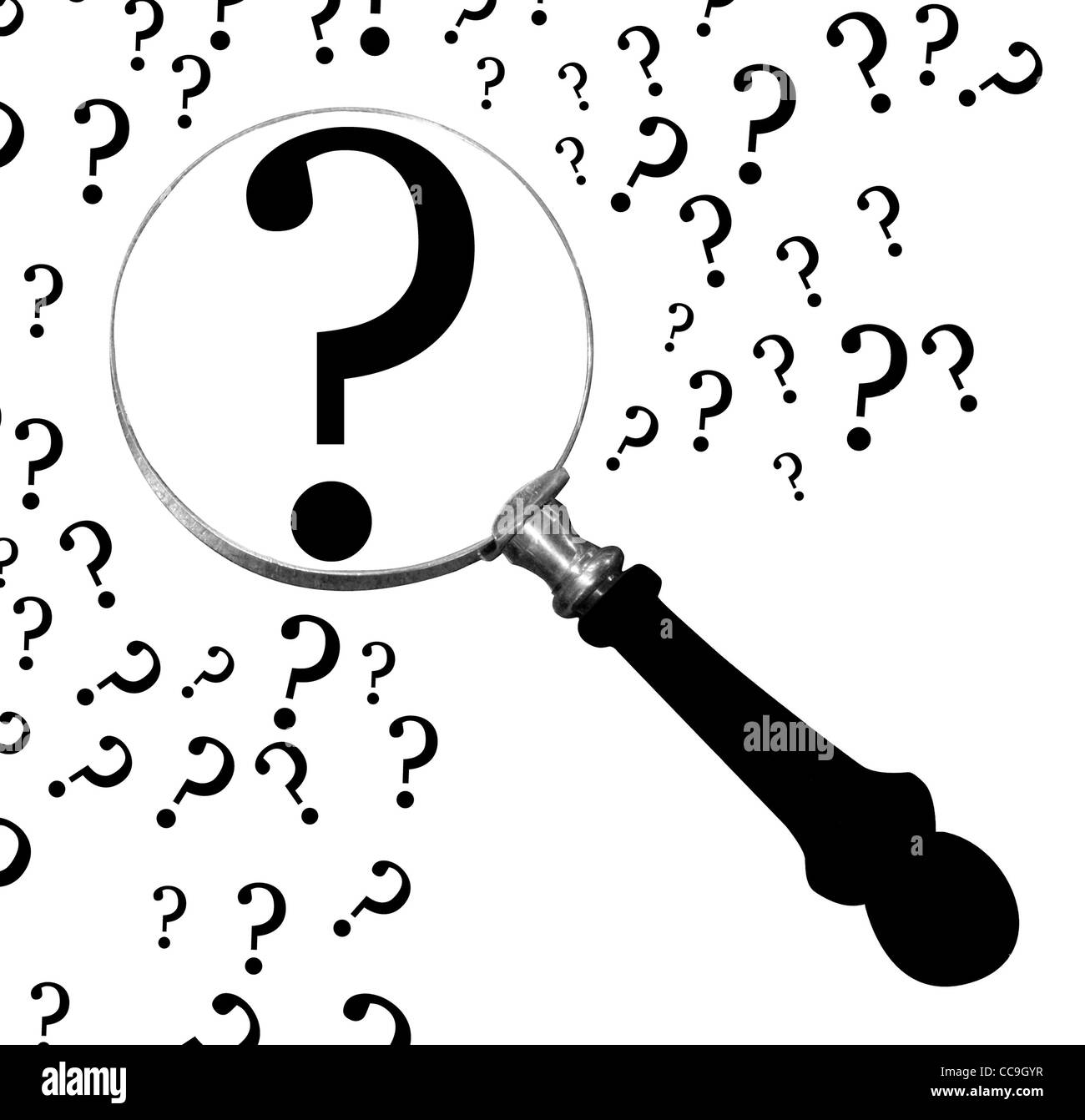 Question under loupe - Stock Image