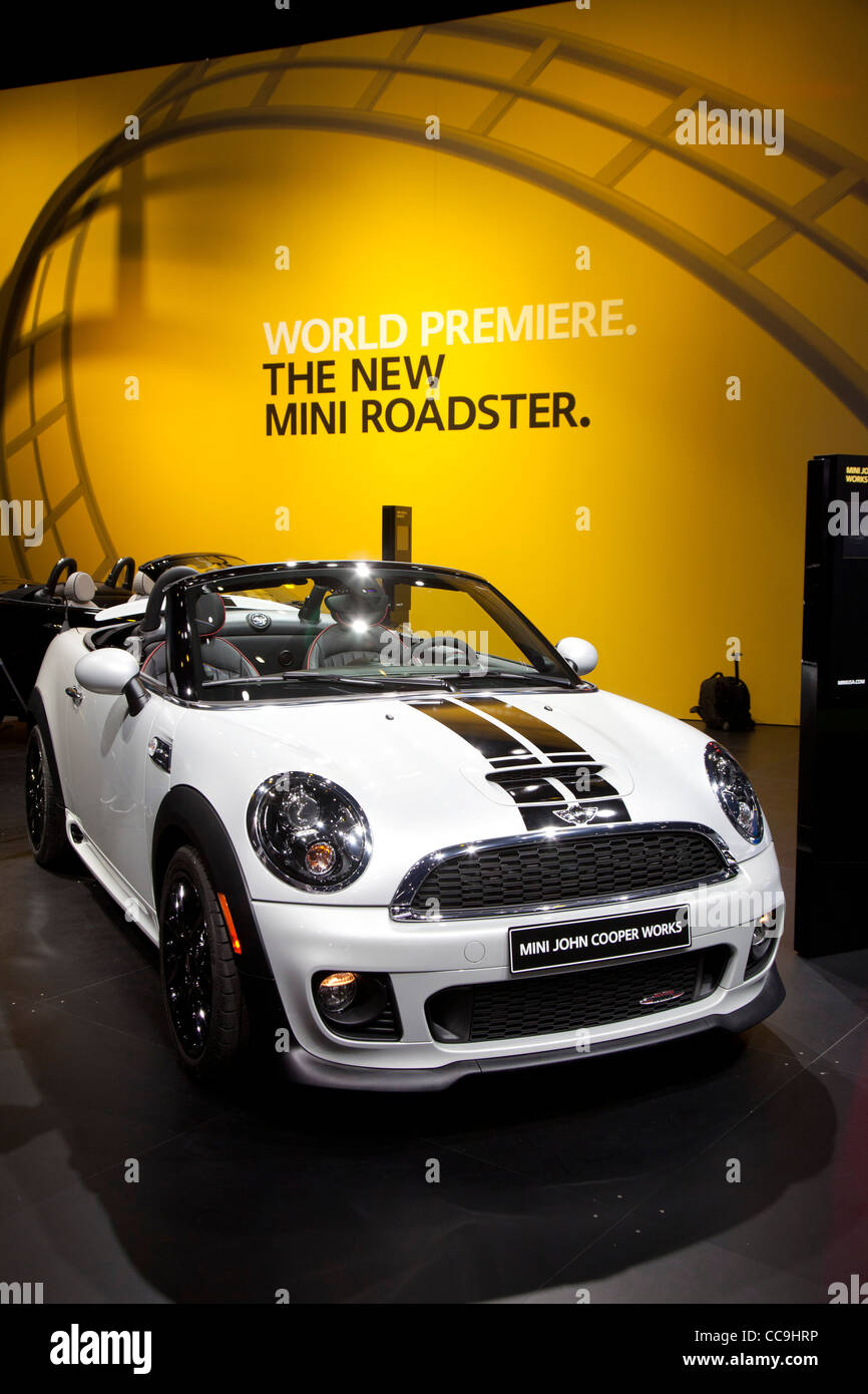 Detroit, Michigan - The 2012 Mini Roadster on display at the North American International Auto Show. - Stock Image