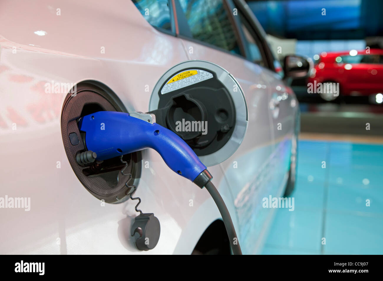 Detroit, Michigan - The 2012 Toyota Prius plug-in hybrid on display at the North American International Auto Show. - Stock Image