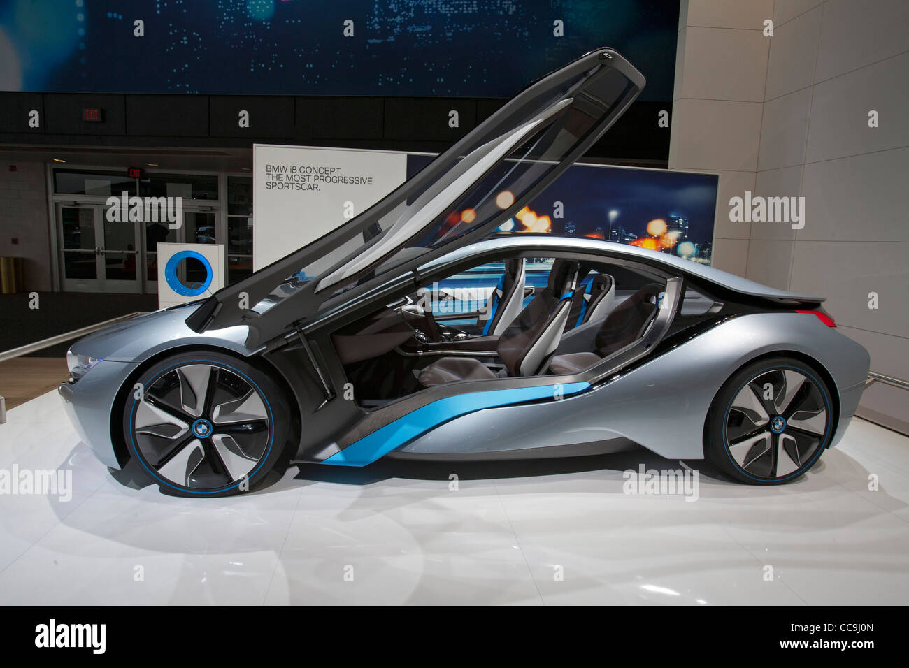 Detroit Michigan The Bmw I8 Plug In Hybrid Concept Car On Display