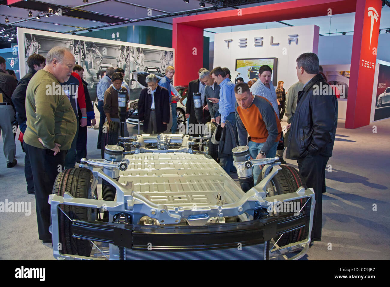 Chassis of the Tesla Model S Electric Sports Sedan at the Detroit Auto Show - Stock Image