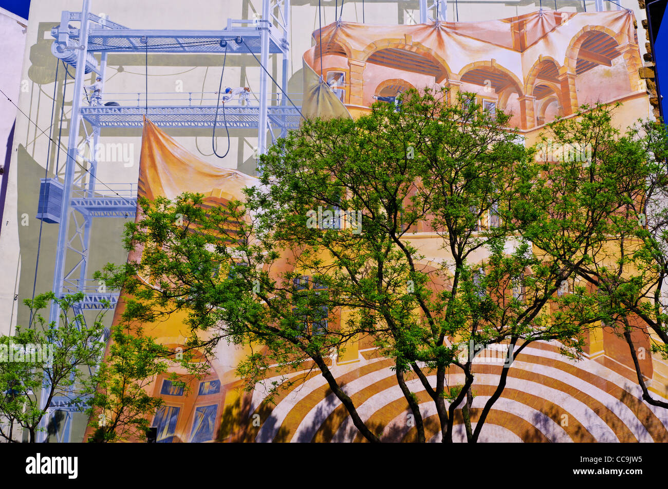 Mural and tree, Lyon, France (UNESCO World Heritage Site) Stock Photo