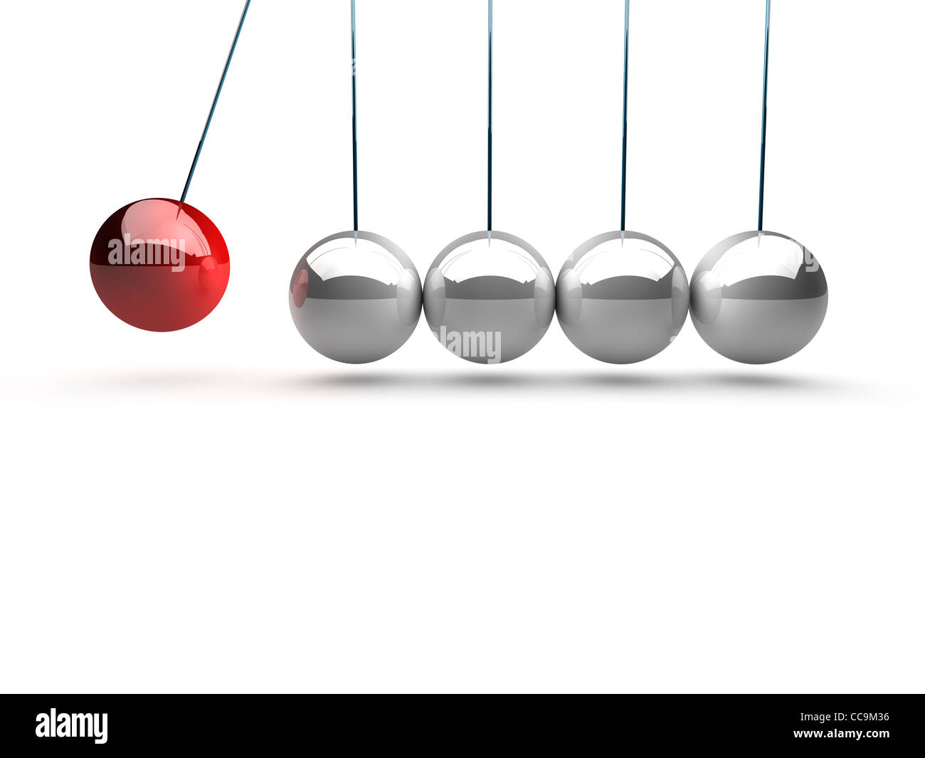 balancing balls newtons cradle over white background - Stock Image