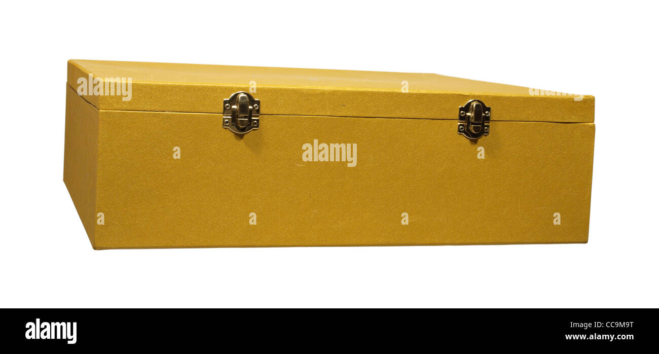 The big box of gold color with two metal fasteners Stock Photo